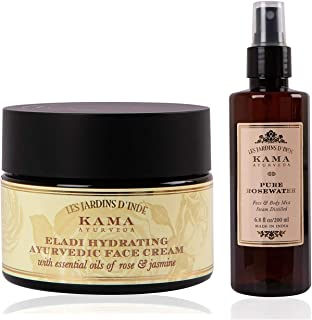 Kama Ayurveda Eladi Hydrating Ayurvedic Face Cream with Pure Essential Oils of Rose and Jasmine, 50g & Kama Ayurveda Pure ...