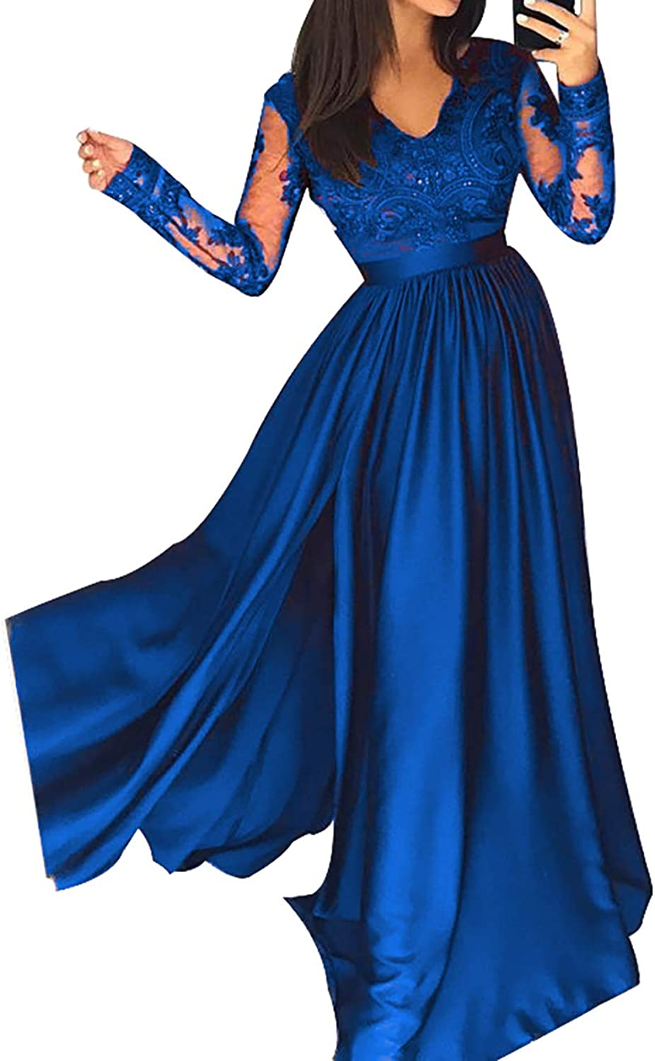 Scarisee Womens Long Sleeve VNeck Evening Prom Party Dress Split Formal Lace137
