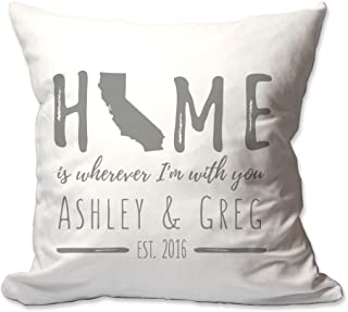 Pattern Pop Personalized California Home is Wherever I'm with You Throw Pillow