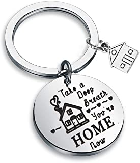 LQRI New Home Keychain Gift Take a Deep Breath You're Home Now First Home Gift Realtor Gift Key Chain Housewarming Gift
