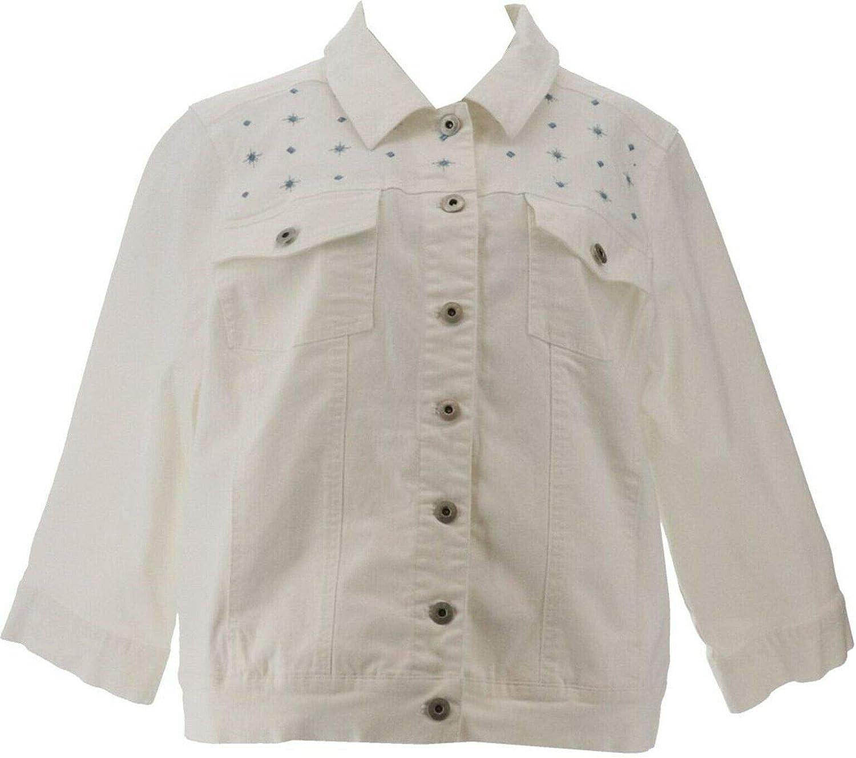 Denim & Co Stretch Twill Denim Jacket Embroidered Yoke White M New A365264