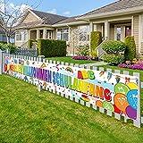 BETESSIN Herzlich Willkommen Schulanfang Banner Einschulung Banner Schuleinführung Hintergrund Banner Garten Mauer Tischläufer Schulanfang Deko 270×40cm