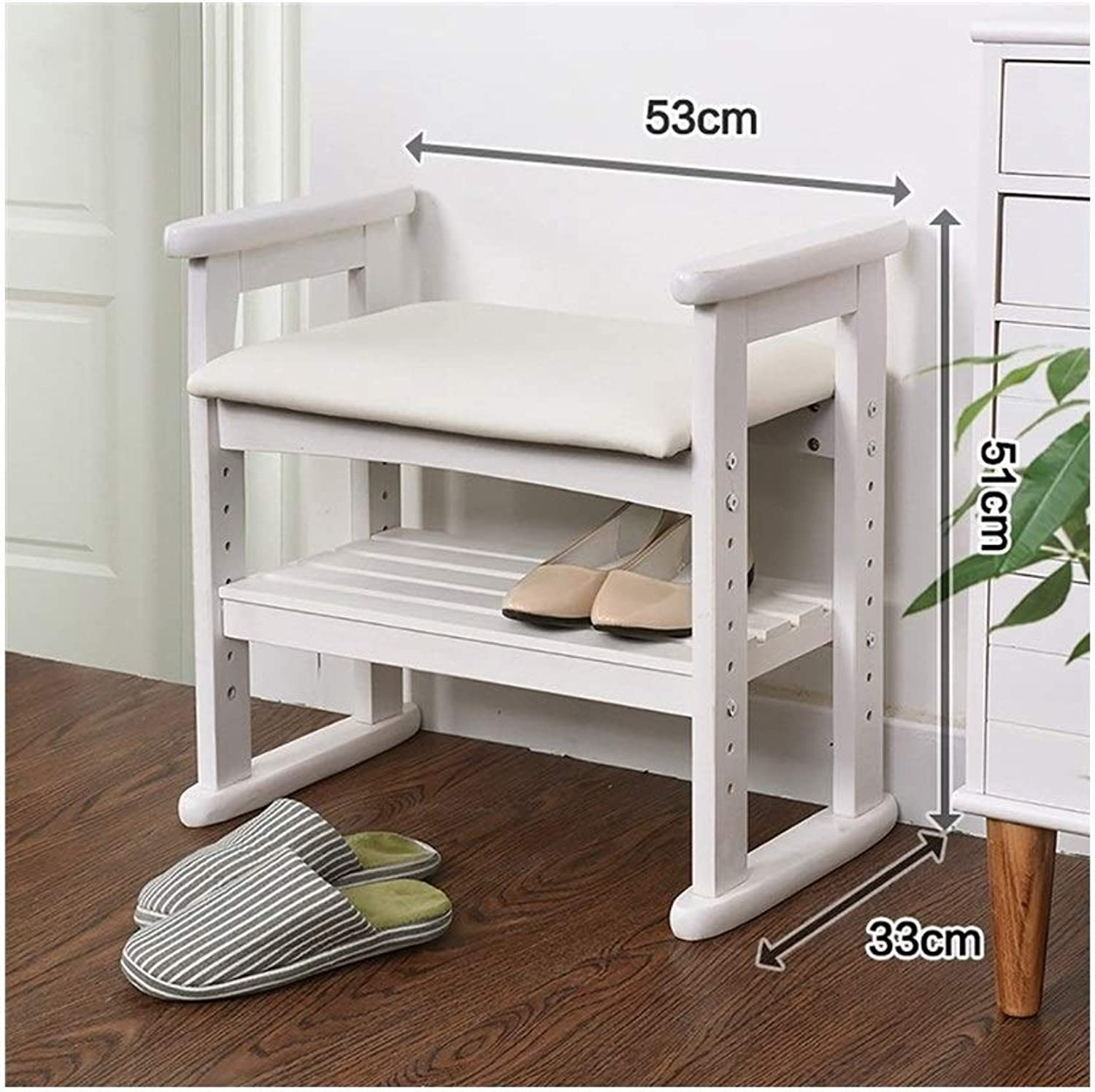 2-Story shoes Bench with Cushions Living Room shoes Rack Adjustable Corridor Stool (color   White, Size   53  33  51cm)