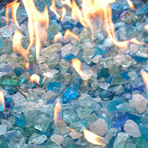 Hiland Fire Pit Fire Glass in Bahama Blend, Extreme Tempature Rating, Good for Propane or Natural Gas, 10 Pounds