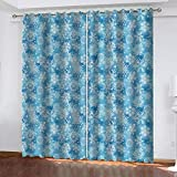 Agvvseso® Cortinas opacas de impresión 3D Super Soft Patrón de copo de nieve azul de dibujos animados Dormitorio de cortinas opacas con aislamiento térmico (W)182x(H)214 cmCortinas con ojales de dos