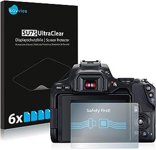 savvies Protector Pantalla Compatible con Canon EOS 250D (6 Unidades) Pelicula Ultra Transparente