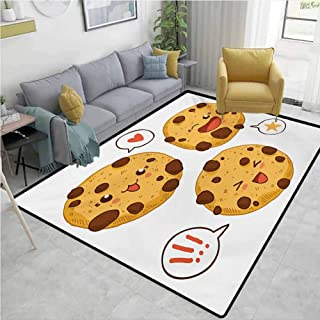 Kawaii Living Room Rugs Three Chocolate Chip Cookies with Different Expressions Japanese Inspirations Quick and Easy to Clean W67 x L90 Brown Pale Brown