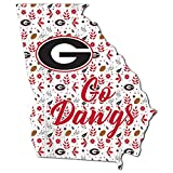 Fan Creations NCAA Georgia Bulldogs Unisex University of Georgia Floral State Sign, Team Color, 12 inch