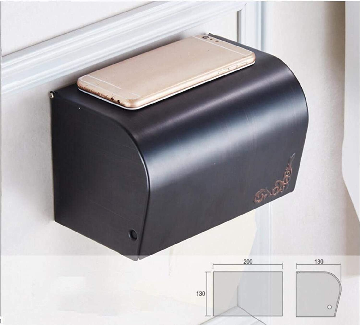 Accessories for Bathroom The Enlargement of Europe All impervious to Black Copper Full Paper Paper Fort Black Bronze Cardboard Seal of roll of Toilet Paper Dry-Towels Framework