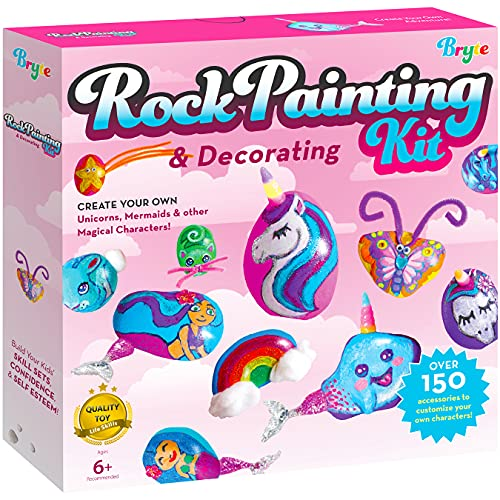 Rock Painting Kit for Kids with Unicorn Horns, Mermaid Tails and Butterfly Accessories - Includes Step-by-Step Rock Art Lessons for Girls and Boys All Ages - Arts and Crafts Paint Kits Gifts and Toys