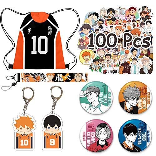 Haikyuu Hinata bolsa de regalo Set – 1 mochila con cordón Hinata, 1 cordón, 2 llaveros de figura Hinata, 4 botones, 100 pegatinas para portátiles Hinata para fans de Hinata