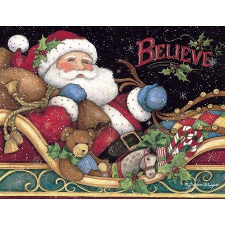"LANG 1004759 -""Believe Santa"", Boxed Christmas Cards, Artwork by Susan Winget"" - 18 Cards, 19 envelopes - 5.375"" x 6.875"""