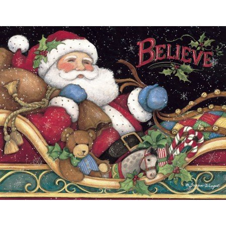LANG 1004759 -'Believe Santa', Boxed Christmas Cards, Artwork by Susan Winget' - 18 Cards, 19 envelopes - 5.375' x 6.875'