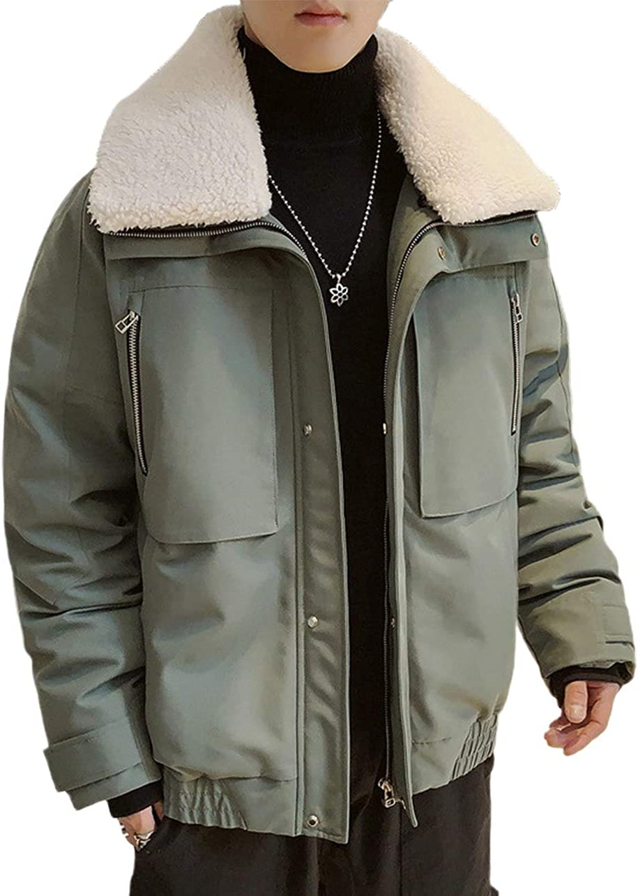 CHARTOU Men's Thicken Lapel Collar Solid Work Wear Down Alternative Coat Parka