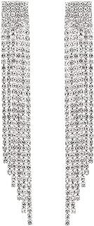 Women Full Sparkly Austrian Crystal Long Dangle Earrings for Wedding Party