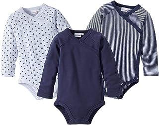 Bornino Wickelbodys Langarm 3er-Pack - Langarmbodys mit Raglanärmeln & Druckknöpfen - Baumwoll-Bodys für Babys - 1x unifarben  2X Gemustert