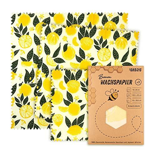 3er Pack Wachspapier | Bienenwachstücher für Lebensmittel | nachhaltig, umweltfreundlich & wiederverwendbar (1x Klein|1x Mittel|1x Groß) ideale Alternative zur Frischhaltefolie