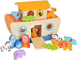 Tooky Toy - Arca de Noé con animales - Juguete de madera clásico a partir de 24 meses
