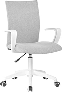 white and grey desk chair