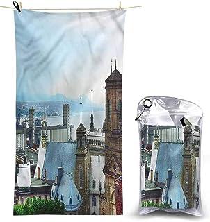 Ahuimin Microfiber Beach Towel, Landscape,Old Quebec City Skyline, 55 x 27.5 Inches Microfiber Bath Towel Blanket Super Absorbent Lightweight Towel for Beach, Pool, Spa, Bath, Swim,Travel