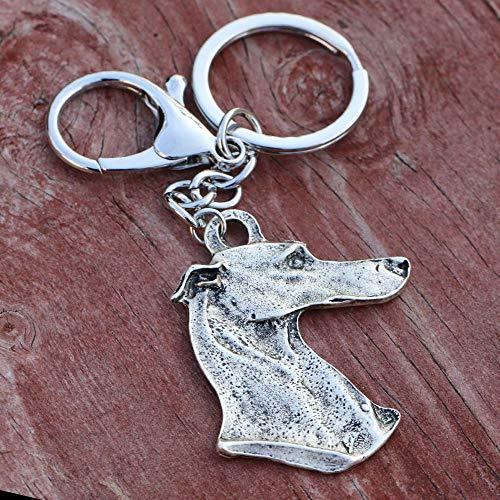 VAWAA 43 * 50mm Galgo de Metal Galgo Llavero Perros Llavero Hombres Mujeres Amante de Las Mascotas llaveros Perrito Chaveiro Cachorro Regalo