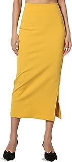 TheMogan S~3XL High Waist Stretch Ponte Knit Mid Calf Long or Midi Pencil Skirt