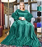 Fleece Wearable Blanket with Sleeves for Adult Women Men, Super Soft Comfy Plush TV Blanket Throw Wrap Cover for Lounge Couch Reading Watching TV 73' x 51' Green