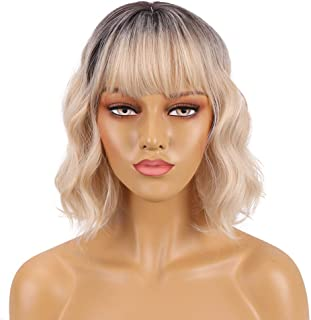 Short Wavy Wig with Bangs Ombre Blonde Bob Wavy Synthetic Wig for Women Natural Looking Heat Resistant Fiber Hair
