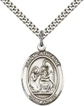 F A Dumont Sterling Silver St. Catherine of Siena Pendant with 24