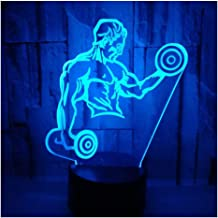 3D Optical Illusion LED Lamps Night Light,Amazing 7 Colors Quick Touch Switch Lamp with Smooth Acrylic Flat,USB Powered Deco Lamp,Birthday Christmas Holiday Gift for Kids and Friends,Gym_a