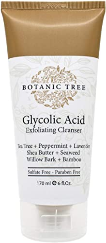 Botanic Tree Glycolic Acid Face Wash-Facial Exfoliating Cleanser w/ 10% Glycolic Acid-Acne Facial Wash For a Deep Cle...