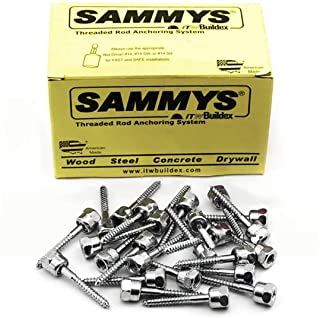 Sammys 8013925-25 Vertical Rod Anchor Super Screw with 1/2 in. Threaded Rod Fitting, 1/4 x 2'' Screw, for Wood (Pkg.=25)