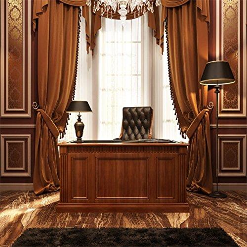 YongFoto 1,5 x 1,5 m foto achtergrond Europese studie kamer kroonluchter zwart lamp bruin gordijn tapijt boekenkast geschilde houten vloer binnenste fotografie achtergrond foto kinderen fotostudio