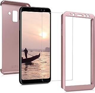 kwmobile Funda Compatible con Samsung Galaxy A8 (2018) - Carcasa Protectora con Cristal Templado - Cover con Protector Duro