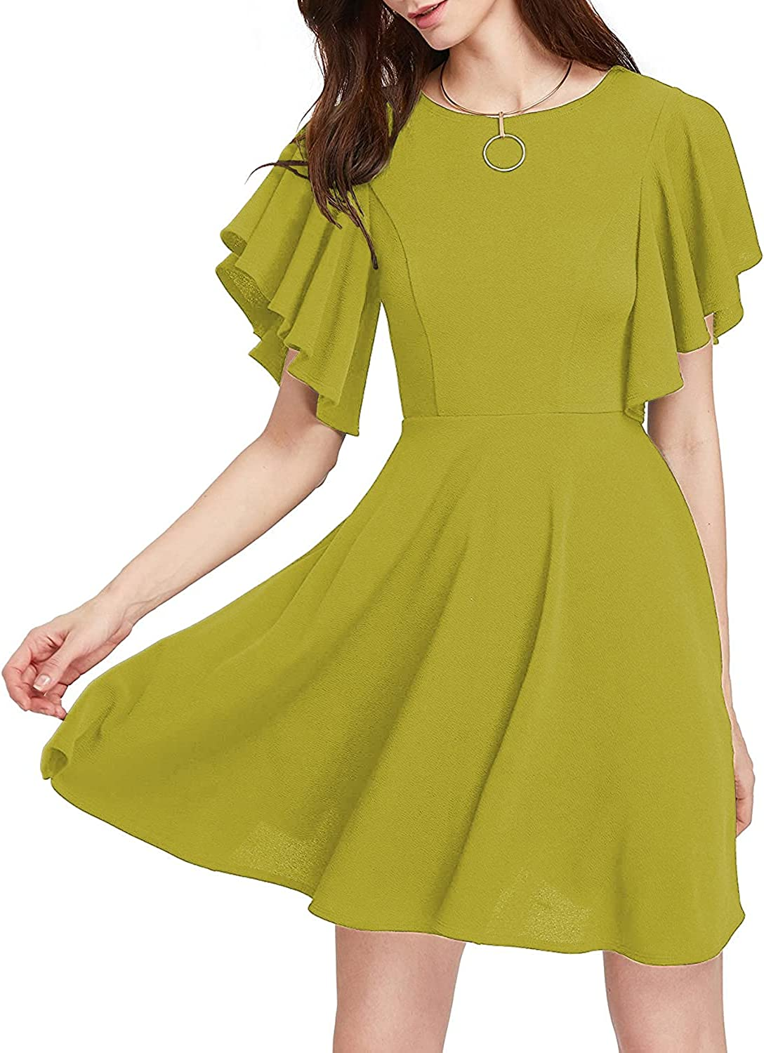 HongyuAmy Women's Casual A Line Swing Flared Flutter Sleeve Cocktail Party Dress
