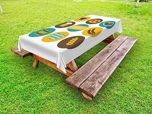 ABAKUHAUS Duitse Tafelkleed voor Buitengebruik, Oktoberfest, Decoratief Wasbaar Tafelkleed voor Picknicktafel, 58 x 120 cm, Earth Yellow Brown