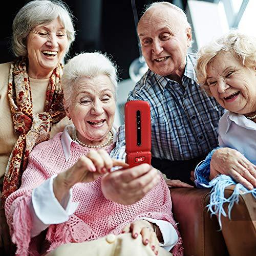 Ushining Telefono Cellulare per anziani, Telefono Cellulare con Tasti Grandi con Pulsante SOS (Dual SIM, 2G + 3G, 2.4