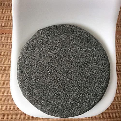 Yoole EU Cojín redondo para silla, cojines gruesos para sillas lavables, cojines de mimbre para silla de oficina, comedor, jardín, patio, interior y exterior (40 x 40 x 4 cm, gris oscuro)