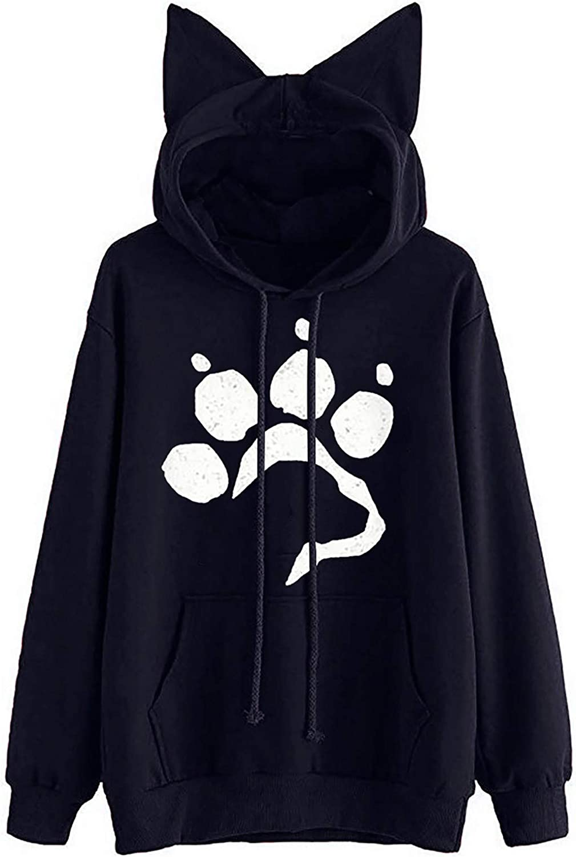 Women's Hoodie Sweatshirt Popular overseas Dog Paw Long service Matching Print Sle Color