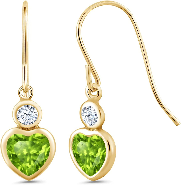 1.24 Ct Heart Shape Green Peridot 14K Yellow gold Earrings