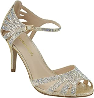 3d9155fe4ae City Classified Comfort Womens Strappy Rhinestone Open Toe Low Heel Heeled- Sandals