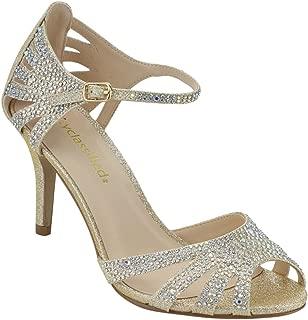 City Classified Reason Women's Strappy Open Toe Rhinestone Low Heel