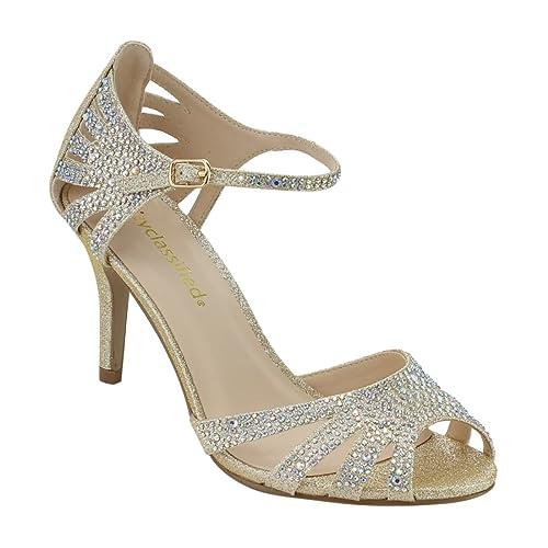 5c4edb424b8 City Classified Comfort Womens Strappy Rhinestone Open Toe Low Heel Heeled- Sandals