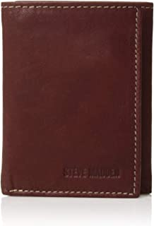 Steve Madden mens Leather Trifold Wallet With Rfid Blocking Technology Wallet