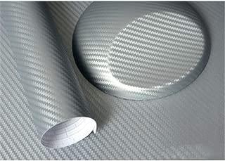 Lámina De Coche De Fibra De Carbono 3D, Adhesivo De Interior Y Exterior De Automóvil De Alto Brillo 3D Antiincrustante Y Anti-UV Pegatinas De Protección De Automóvil (Plata,1.27m*50cm)