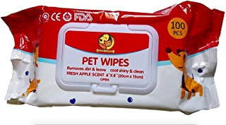 """Foodie Puppies Wet Pet Wipes for Dogs, Puppies & Pets with Fresh Apple Scent 6""""x 8"""" - Pack of 100 Wipes"""