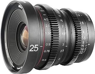 Meike 25mm T2.2 Large Aperture Manual Focus Prime Low Distortion Mini Cine Lens Compatible with Micro Four Thirds M43 MFT Olympus Panasonic Lumix Cameras and BMPCC 4K Zcam E2