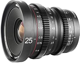 Meike 25mm T2.2 Large Aperture Manual Focus Low Distortion 4K Mini Cine Lens for Sony E Mount APS-C Cameras and Super 35mm Camcorders FS5 FS7