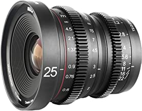 Meike 25mm T2.2 Large Aperture Manual Focus Prime Low Distortion Mini Cine Lens Compatible with Micro Four Thirds M43 MFT Olympus Panasonic Lumix Cameras and BMPCC 4K Zcam E2