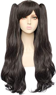 JoneTing Dark Brown Wig Cosplay for Girls Long Wavy Synthetic Wigs with Ponytails Brown Wig for Lolita